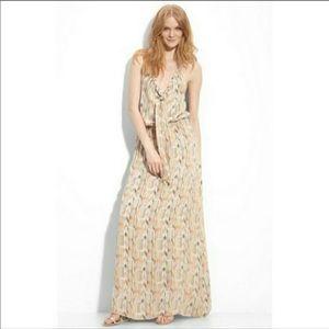 Parker Georgette Halter Chevron Silk Maxi Dress